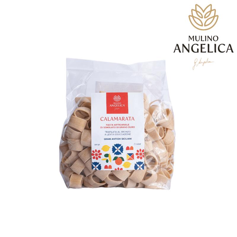 Каламарата Дурум Пшеница Семолато Паста 500г Mulino Angelica - 1