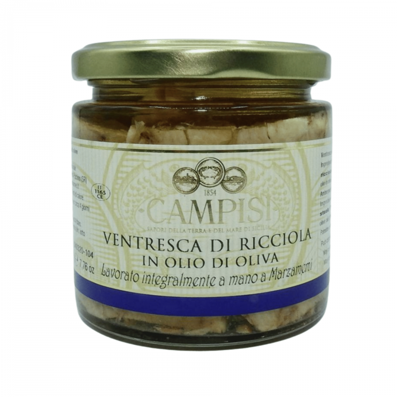 amberjack ventresca(belly) in olive oil 220 g Campisi Conserve - 1