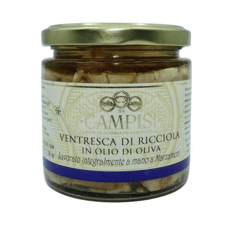 ventre de sériole à l'huile d'olive 220 g Campisi Conserve - 1