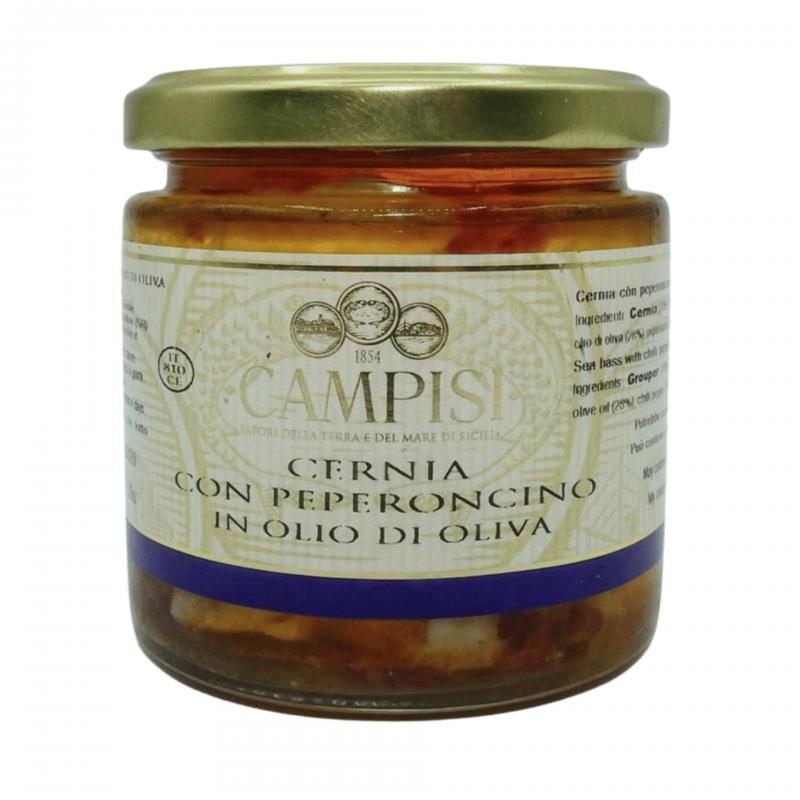 mero con chile en aceite de oliva 220 g Campisi Conserve - 1