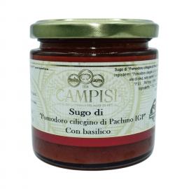 salsa de tomate cereza pachino pgI con albahaca 220 g Campisi Conserve - 1