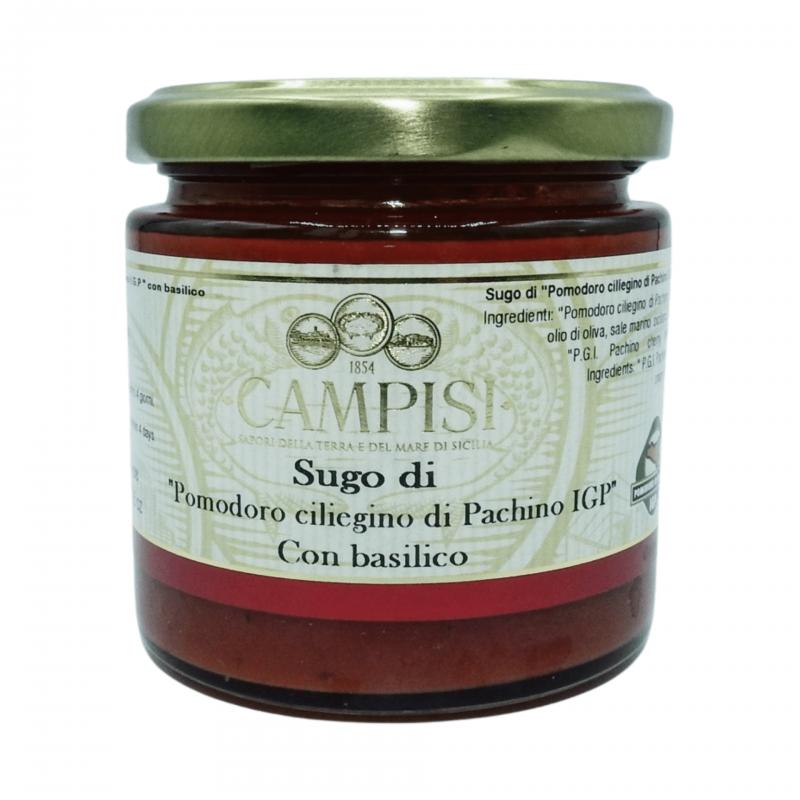 molho de tomate cereja pachino pgI com manjericão 220 g Campisi Conserve - 1