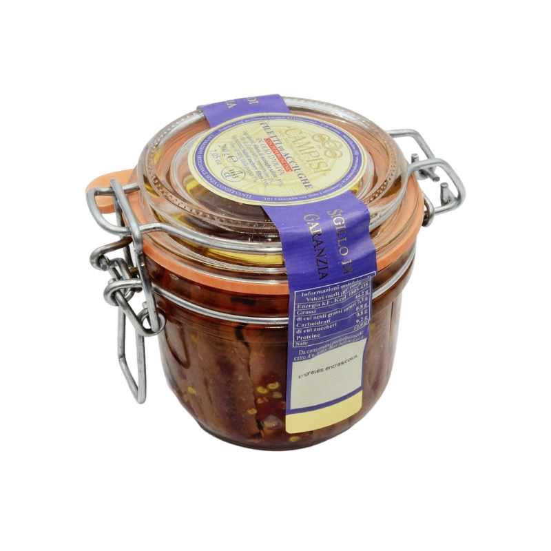 anchovy fillets with chilli pepper in air tight jar Campisi Conserve - 1