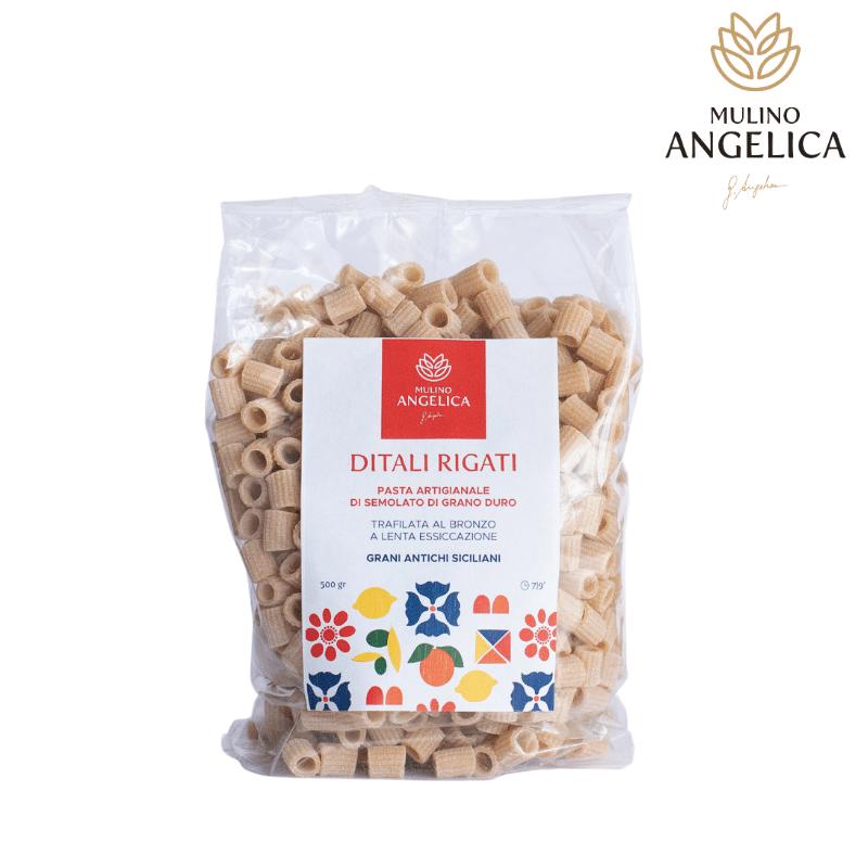 Pasta de sumolato de trigo duro Ditali Rigati 500g Mulino Angelica - 1