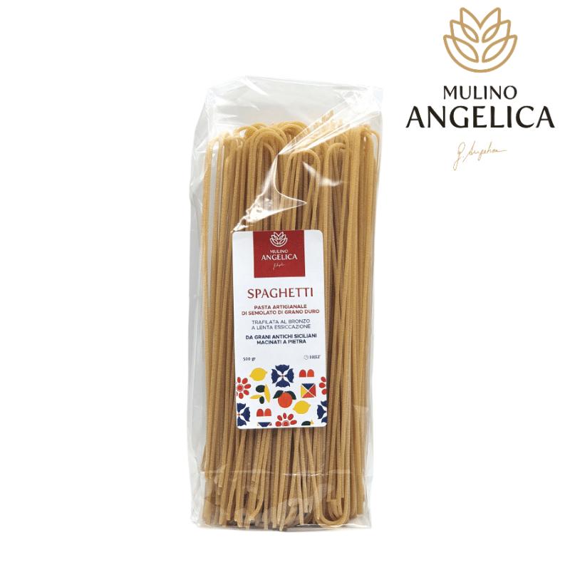 Sicilian Durum Wheat Spaghetti Pasta 500g Mulino Angelica - 1