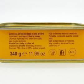 vientre de atún rojo en aceite de oliva 340 g Campisi Conserve - 5